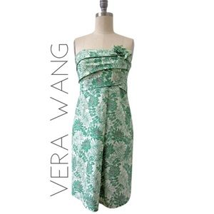 Vera Wang Lavender green floral strapless dress 4